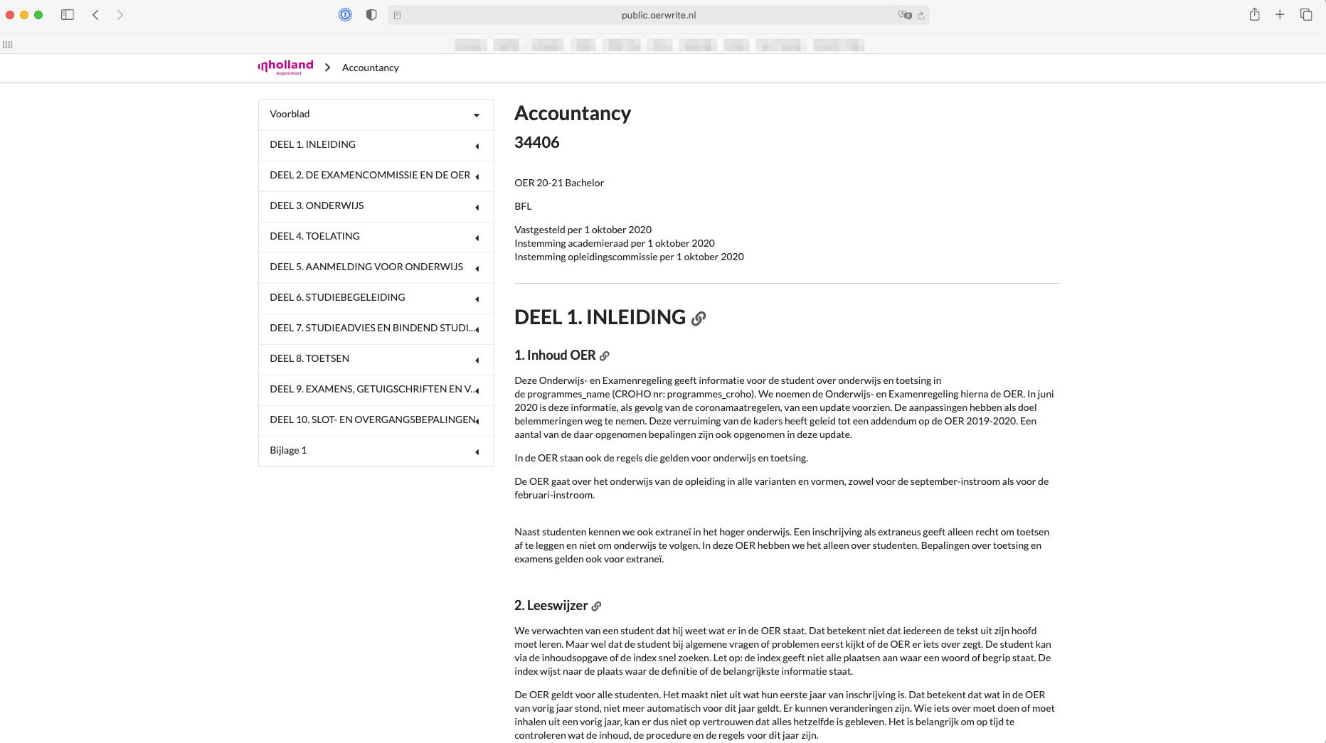 Online publicatie van een OER bij Inholland